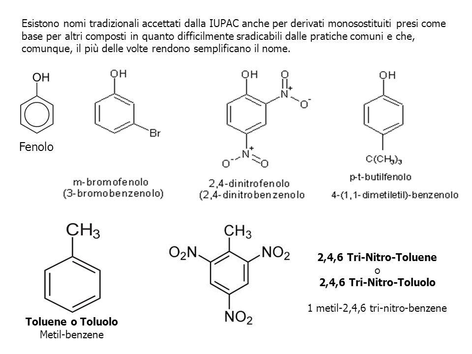 Esistono nomi tradizionali accettati dalla IUPAC anche per derivati monosostituiti presi come base per altri composti in quanto difficilmente sradicab