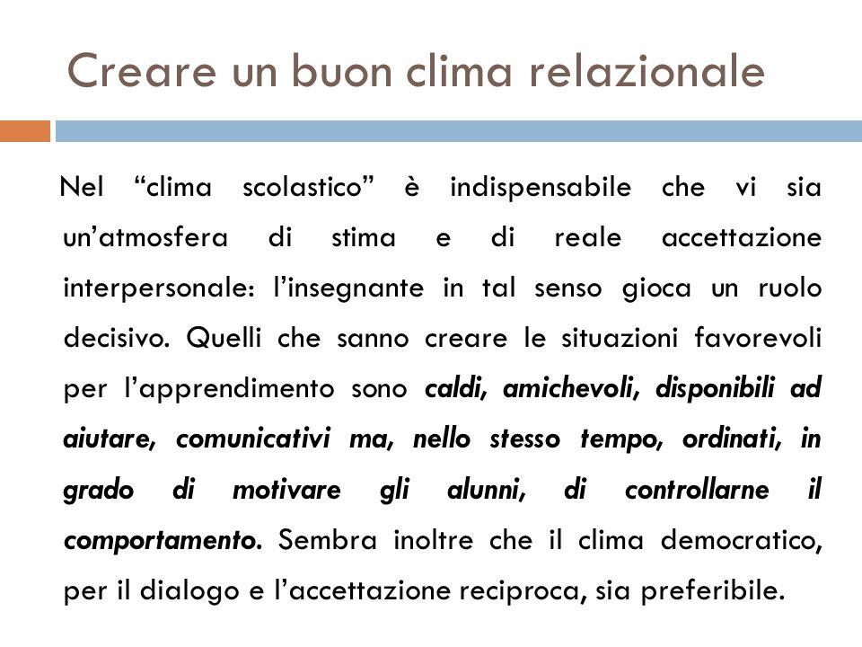 """Creare un buon clima relazionale Nel """"clima scolastico"""" è indispensabile che vi sia un'atmosfera di stima e di reale accettazione interpersonale: l'in"""