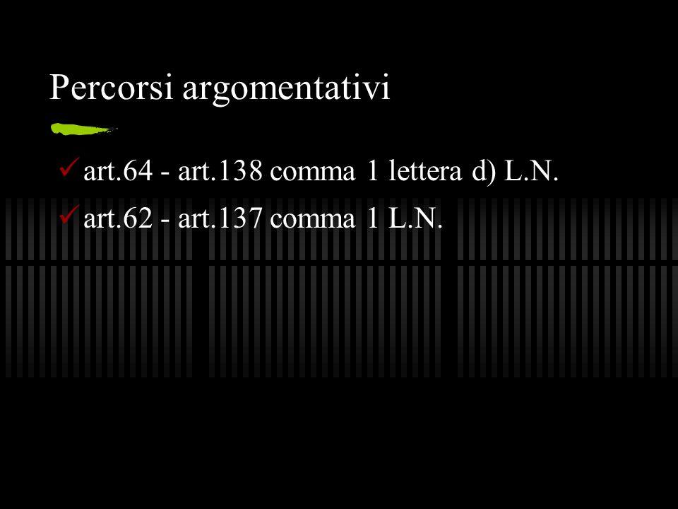 Percorsi argomentativi art.64 - art.138 comma 1 lettera d) L.N. art.62 - art.137 comma 1 L.N.