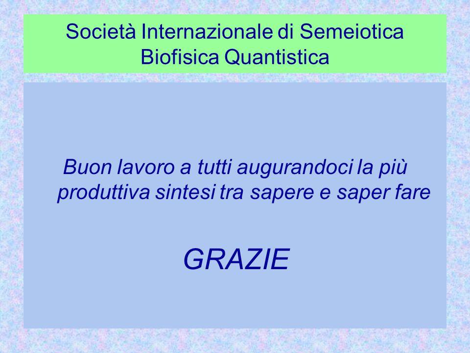 Società Internazionale di Semeiotica Biofisica Quantistica Buon lavoro a tutti augurandoci la più produttiva sintesi tra sapere e saper fare GRAZIE