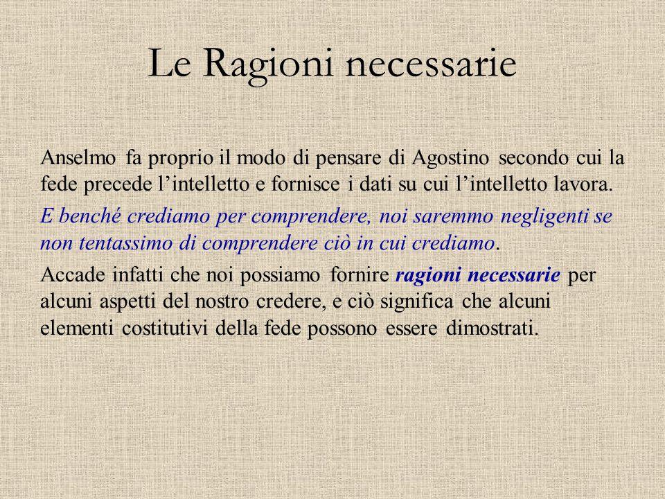 Le Ragioni necessarie Anselmo fa proprio il modo di pensare di Agostino secondo cui la fede precede l'intelletto e fornisce i dati su cui l'intelletto