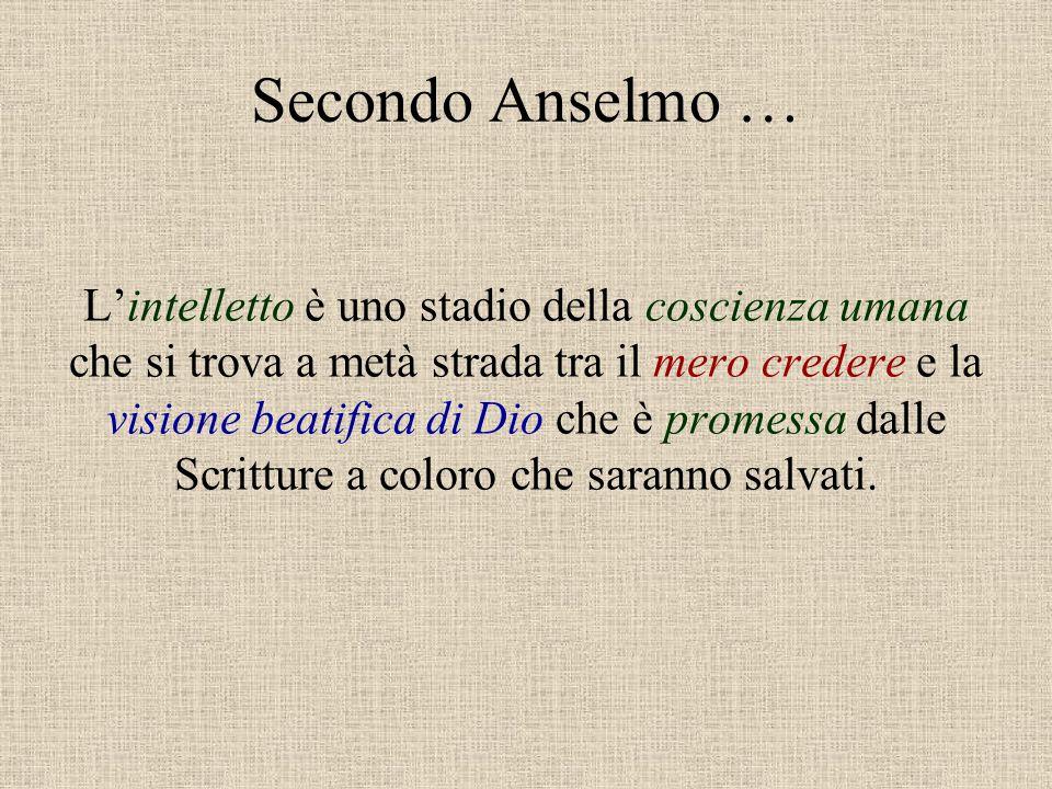Secondo Anselmo … L'intelletto è uno stadio della coscienza umana che si trova a metà strada tra il mero credere e la visione beatifica di Dio che è p