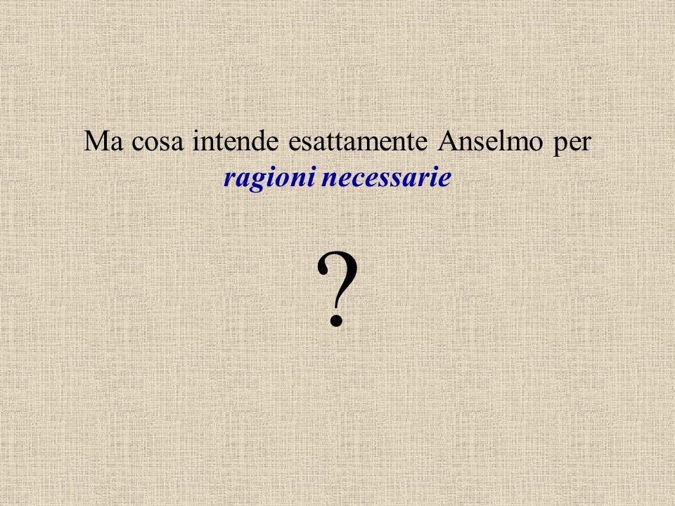 Ma cosa intende esattamente Anselmo per ragioni necessarie ?