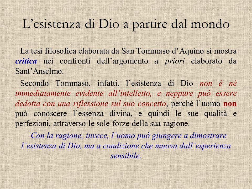 L'esistenza di Dio a partire dal mondo La tesi filosofica elaborata da San Tommaso d'Aquino si mostra critica nei confronti dell'argomento a priori el