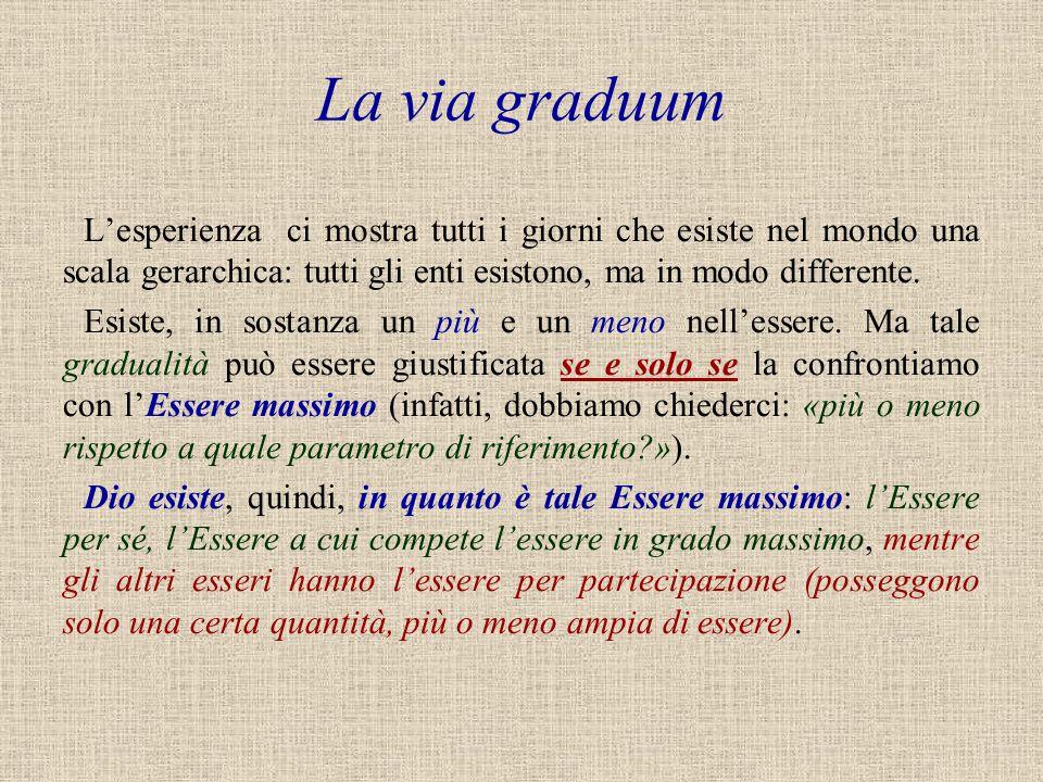 La via graduum L'esperienza ci mostra tutti i giorni che esiste nel mondo una scala gerarchica: tutti gli enti esistono, ma in modo differente. Esiste