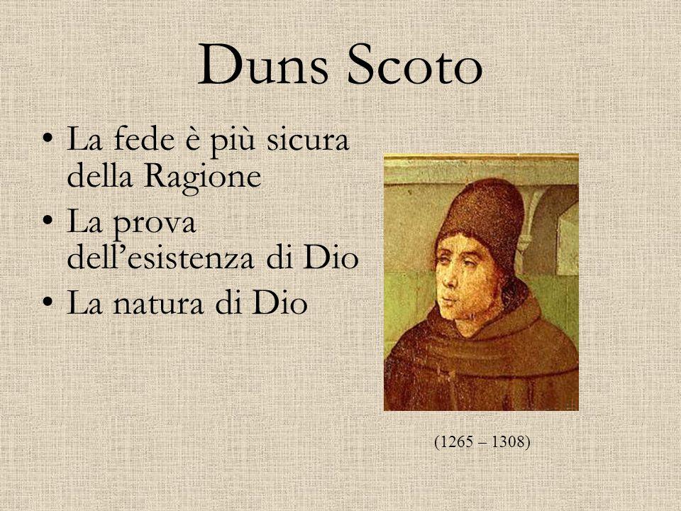 Duns Scoto La fede è più sicura della Ragione La prova dell'esistenza di Dio La natura di Dio (1265 – 1308)