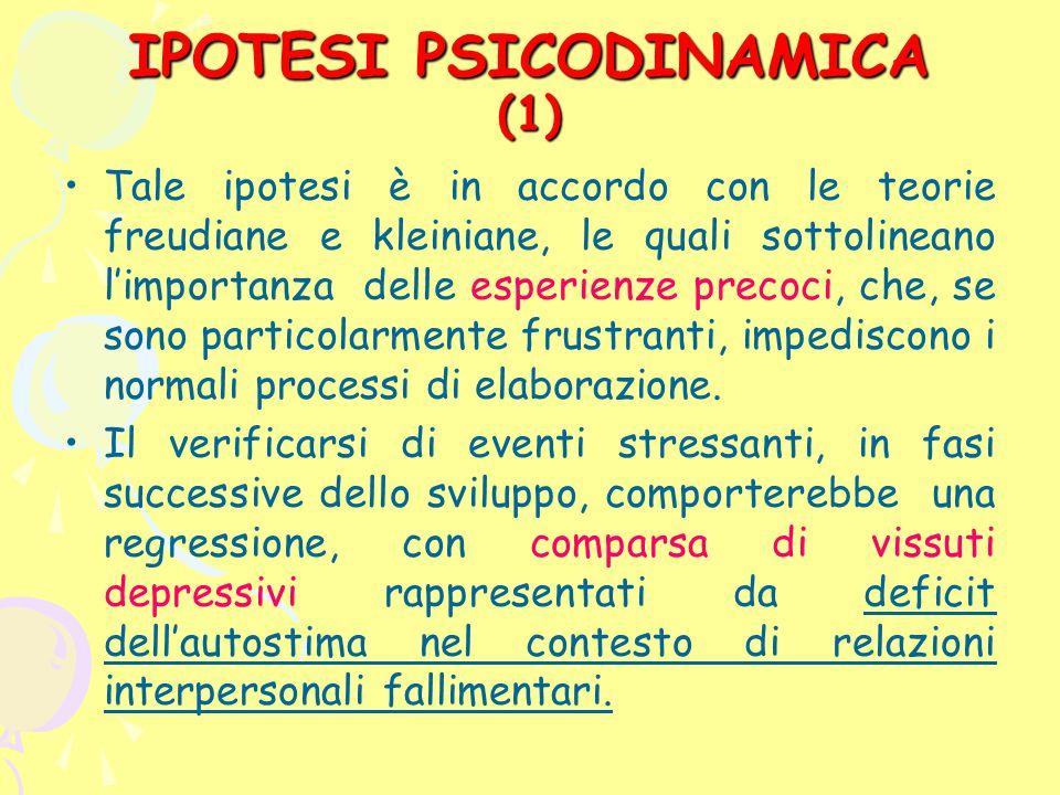 IPOTESI PSICODINAMICA (1) Tale ipotesi è in accordo con le teorie freudiane e kleiniane, le quali sottolineano l'importanza delle esperienze precoci,