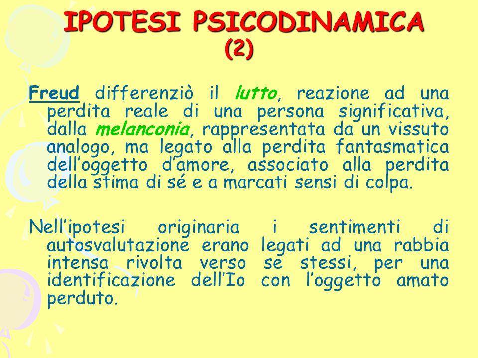 IPOTESI PSICODINAMICA (2) IPOTESI PSICODINAMICA (2) Freud differenziò il lutto, reazione ad una perdita reale di una persona significativa, dalla mela