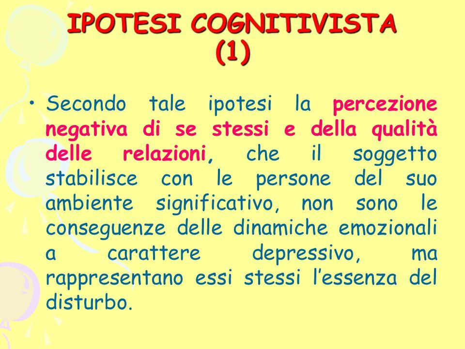 IPOTESI COGNITIVISTA (1) Secondo tale ipotesi la percezione negativa di se stessi e della qualità delle relazioni, che il soggetto stabilisce con le p