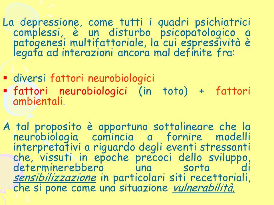 La depressione, come tutti i quadri psichiatrici complessi, è un disturbo psicopatologico a patogenesi multifattoriale, la cui espressività è legata a