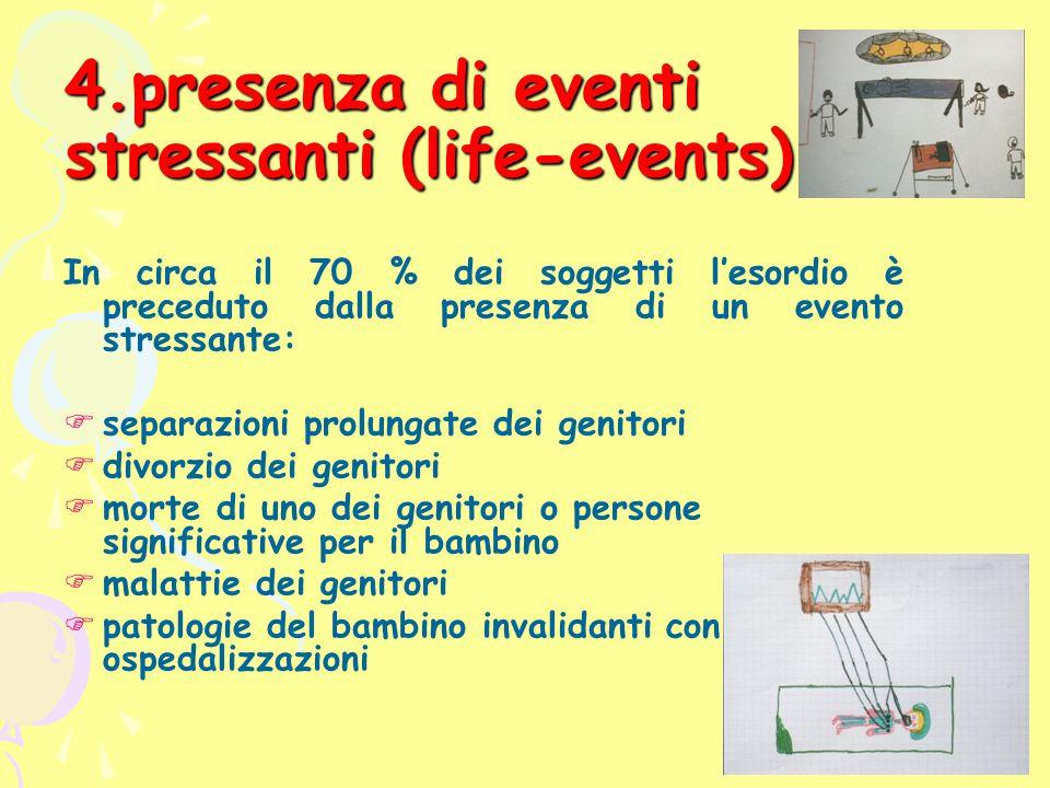 4.presenza di eventi stressanti (life-events) In circa il 70 % dei soggetti l'esordio è preceduto dalla presenza di un evento stressante:  separazion
