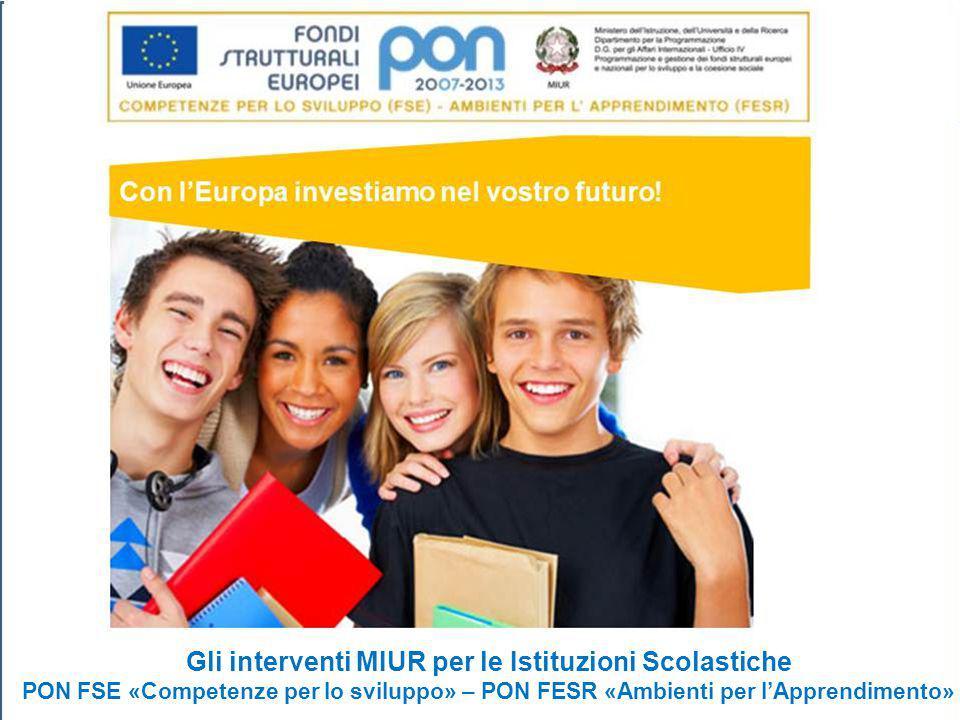 1 Gli interventi MIUR per le Istituzioni Scolastiche PON FSE «Competenze per lo sviluppo» – PON FESR «Ambienti per l'Apprendimento»