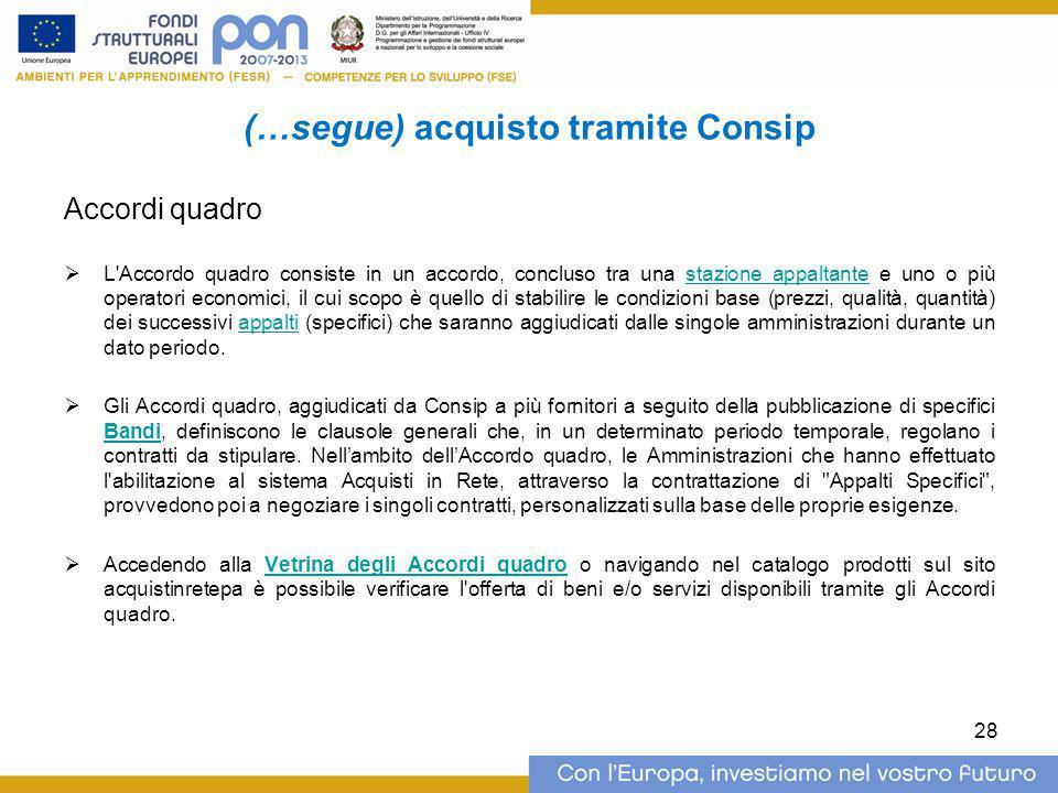 (…segue) acquisto tramite Consip Accordi quadro  L'Accordo quadro consiste in un accordo, concluso tra una stazione appaltante e uno o più operatori
