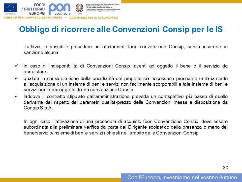 Obbligo di ricorrere alle Convenzioni Consip per le IS Tuttavia, è possibile procedere ad affidamenti fuori convenzione Consip, senza incorrere in san