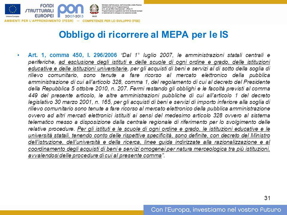 Obbligo di ricorrere al MEPA per le IS Art.1, comma 450, l.