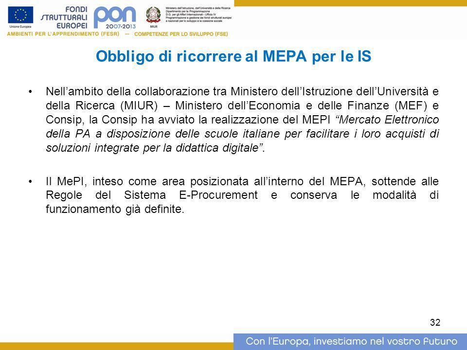 Obbligo di ricorrere al MEPA per le IS Nell'ambito della collaborazione tra Ministero dell'Istruzione dell'Università e della Ricerca (MIUR) – Ministe