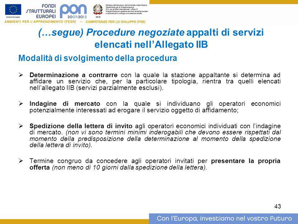 (…segue) Procedure negoziate appalti di servizi elencati nell'Allegato IIB Modalità di svolgimento della procedura  Determinazione a contrarre con la