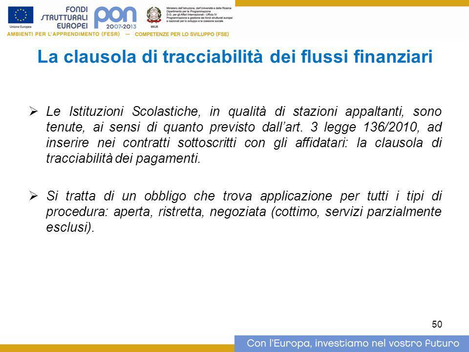 La clausola di tracciabilità dei flussi finanziari  Le Istituzioni Scolastiche, in qualità di stazioni appaltanti, sono tenute, ai sensi di quanto pr