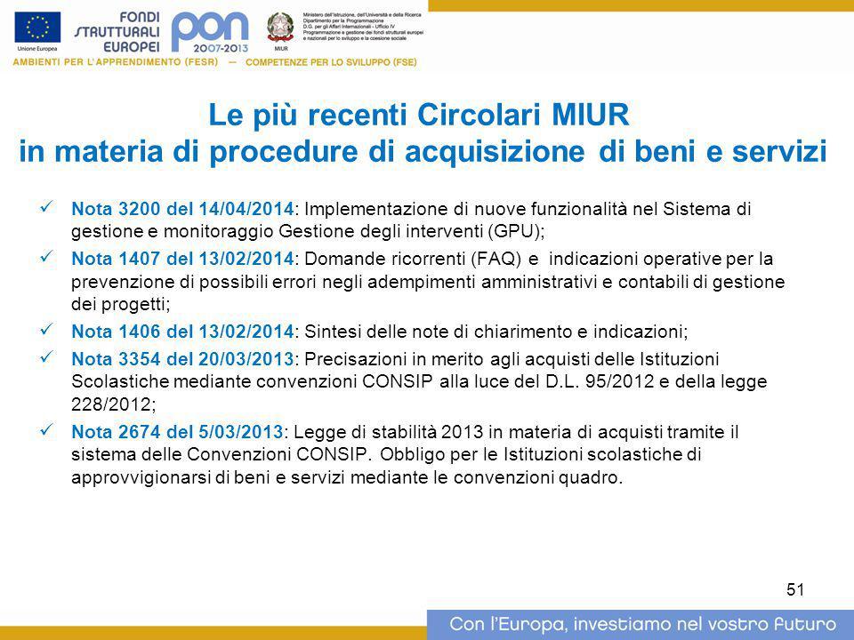 Le più recenti Circolari MIUR in materia di procedure di acquisizione di beni e servizi Nota 3200 del 14/04/2014: Implementazione di nuove funzionalit