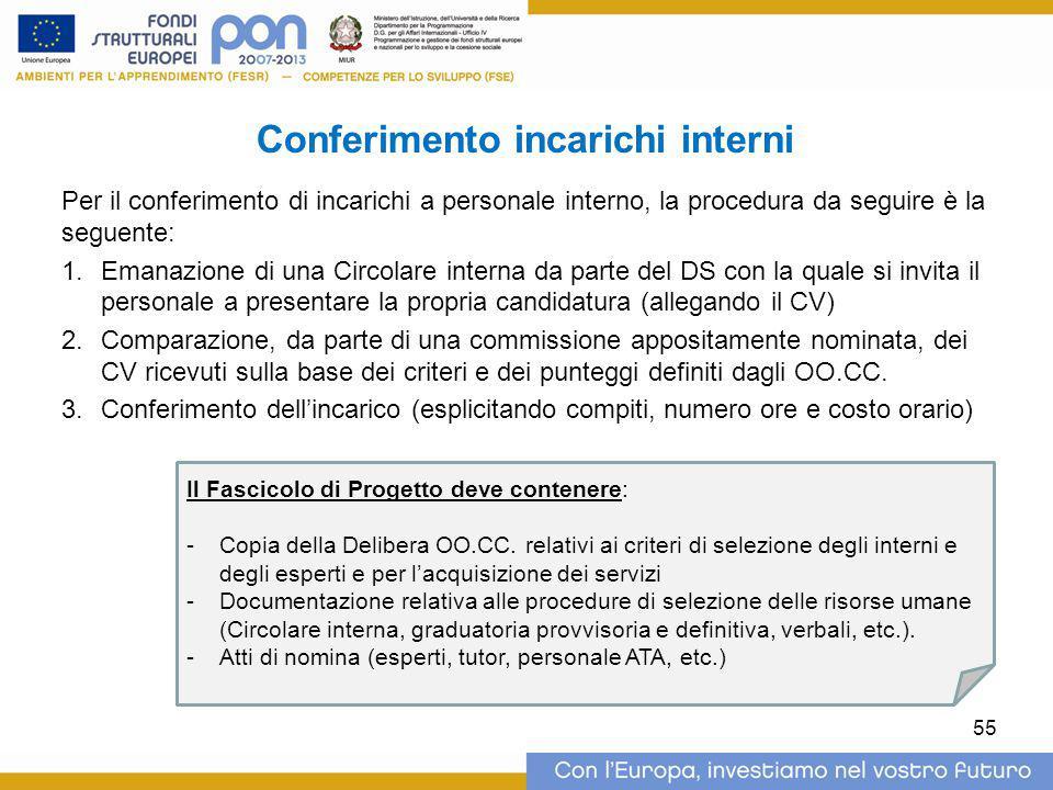 Conferimento incarichi interni Per il conferimento di incarichi a personale interno, la procedura da seguire è la seguente: 1.Emanazione di una Circol