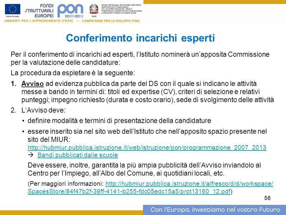 Conferimento incarichi esperti Per il conferimento di incarichi ad esperti, l'Istituto nominerà un'apposita Commissione per la valutazione delle candi