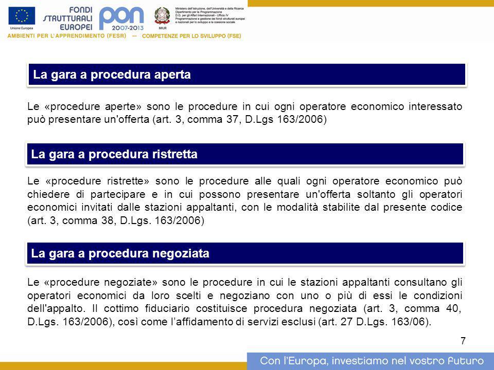 Le «procedure aperte» sono le procedure in cui ogni operatore economico interessato può presentare un'offerta (art. 3, comma 37, D.Lgs 163/2006) Le «p