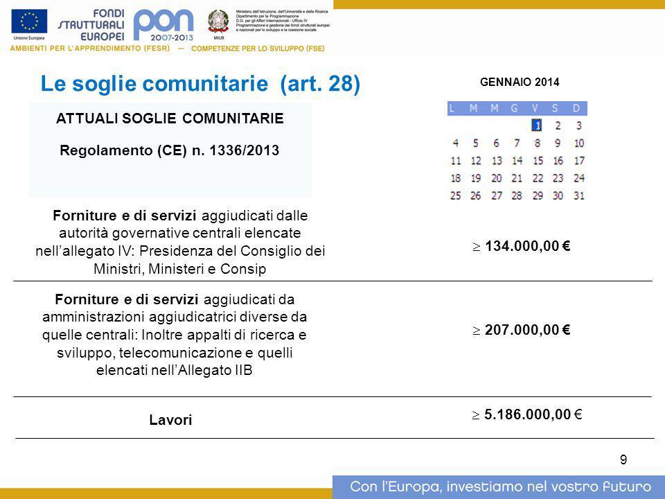 Le soglie comunitarie (art. 28) GENNAIO 2014  207.000,00 € Forniture e di servizi aggiudicati dalle autorità governative centrali elencate nell'alleg