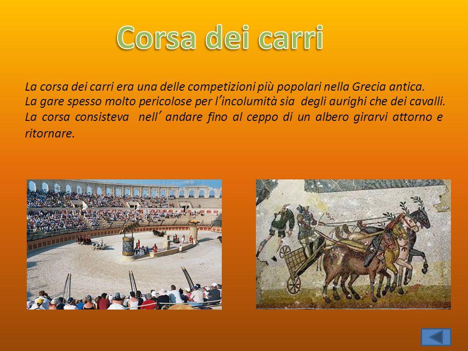 La corsa dei carri era una delle competizioni più popolari nella Grecia antica. La gare spesso molto pericolose per l'incolumità sia degli aurighi che