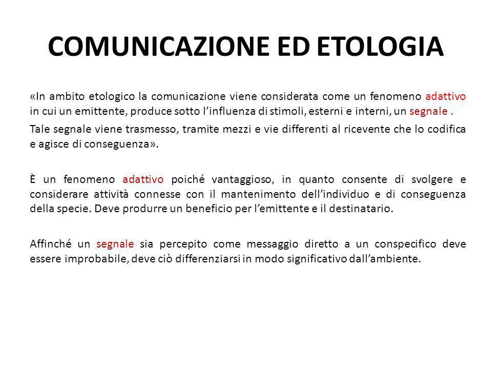COMUNICAZIONE ED ETOLOGIA «In ambito etologico la comunicazione viene considerata come un fenomeno adattivo in cui un emittente, produce sotto l'influ