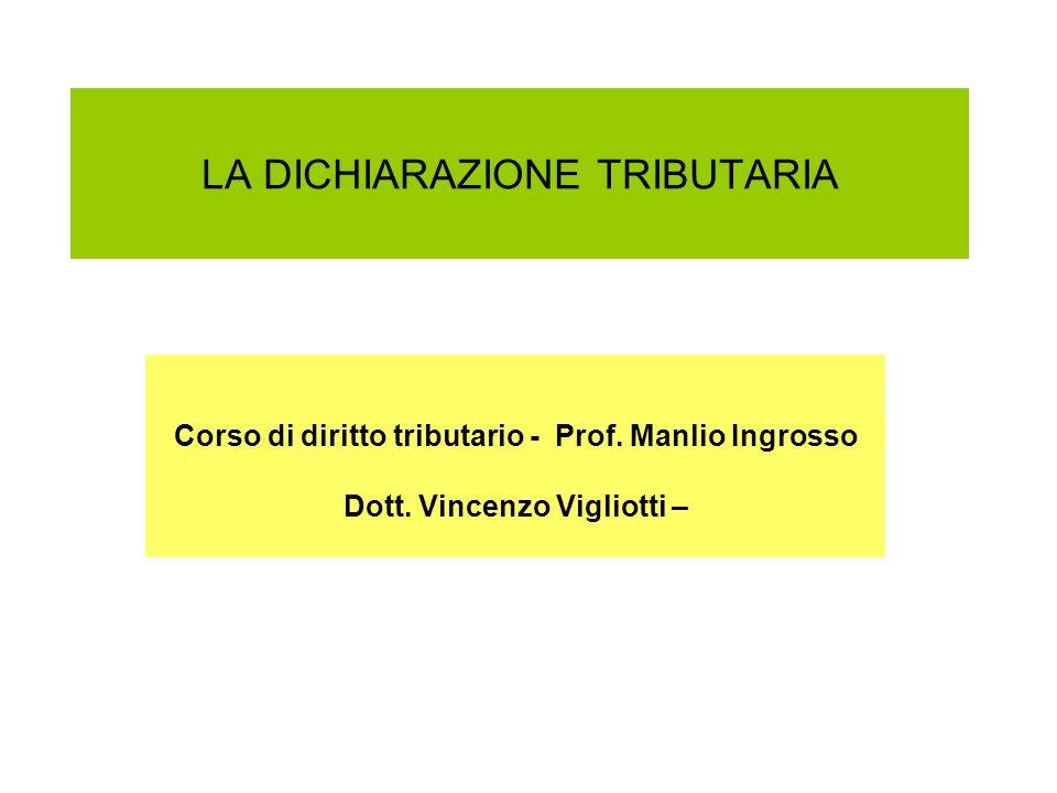 LA DICHIARAZIONE TRIBUTARIA Corso di diritto tributario - Prof.