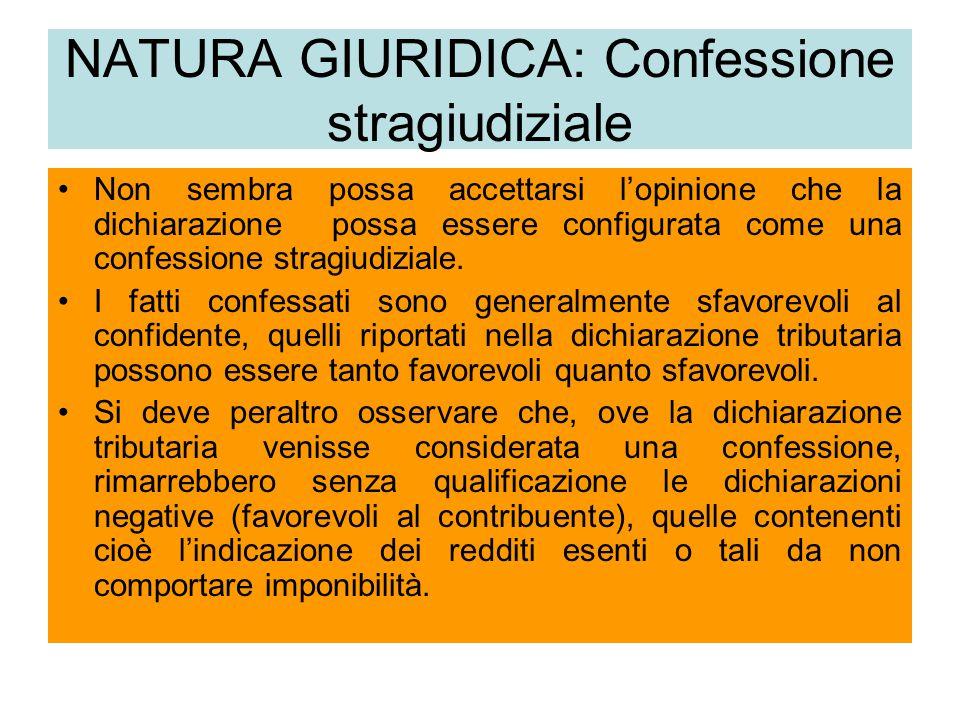 NATURA GIURIDICA: Confessione stragiudiziale Non sembra possa accettarsi l'opinione che la dichiarazione possa essere configurata come una confessione