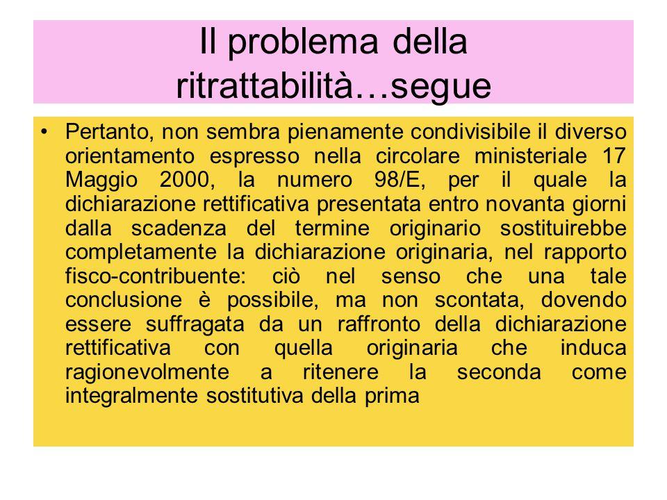 Il problema della ritrattabilità…segue Pertanto, non sembra pienamente condivisibile il diverso orientamento espresso nella circolare ministeriale 17