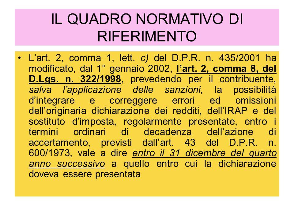 IL QUADRO NORMATIVO DI RIFERIMENTO L'art. 2, comma 1, lett. c) del D.P.R. n. 435/2001 ha modificato, dal 1° gennaio 2002, l'art. 2, comma 8, del D.Lgs