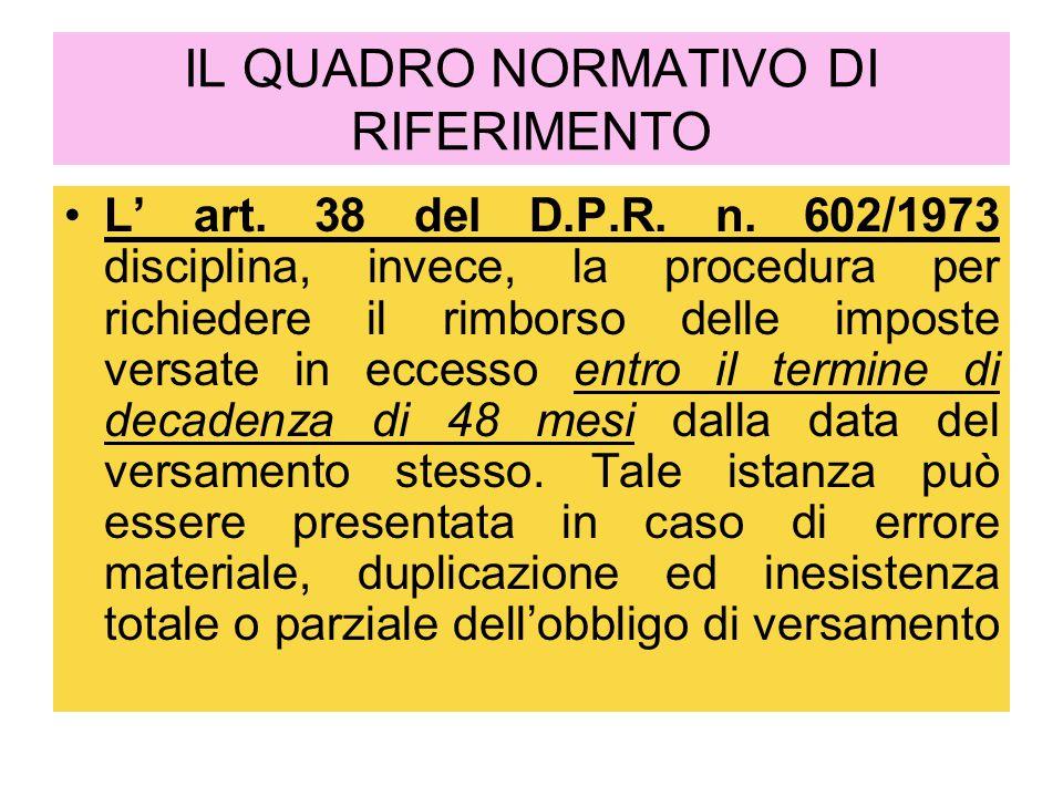IL QUADRO NORMATIVO DI RIFERIMENTO L' art. 38 del D.P.R. n. 602/1973 disciplina, invece, la procedura per richiedere il rimborso delle imposte versate