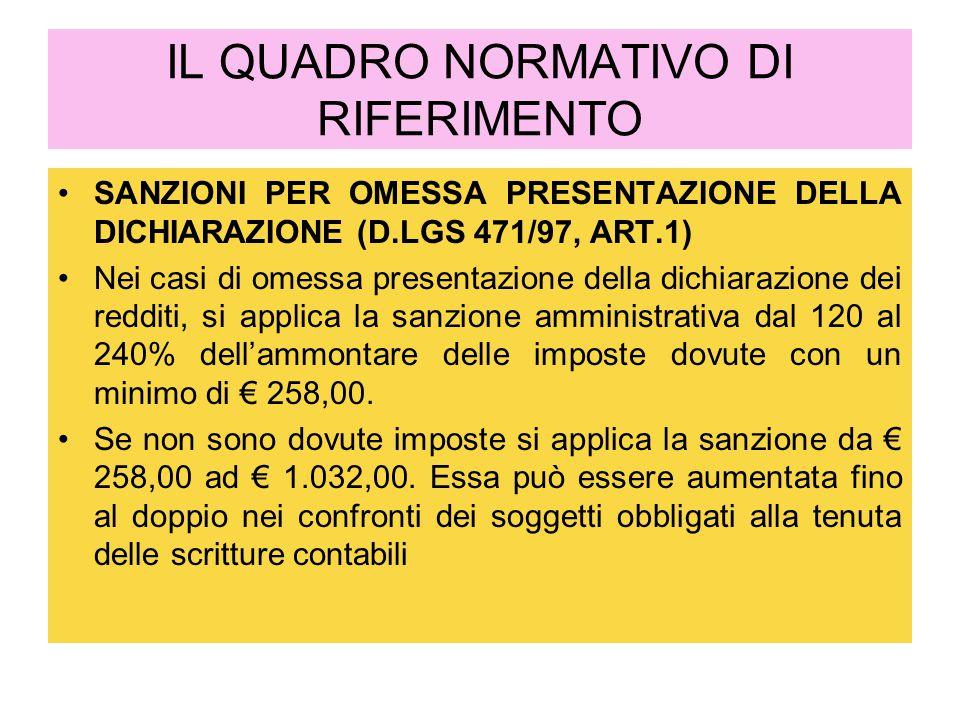 IL QUADRO NORMATIVO DI RIFERIMENTO SANZIONI PER OMESSA PRESENTAZIONE DELLA DICHIARAZIONE (D.LGS 471/97, ART.1) Nei casi di omessa presentazione della