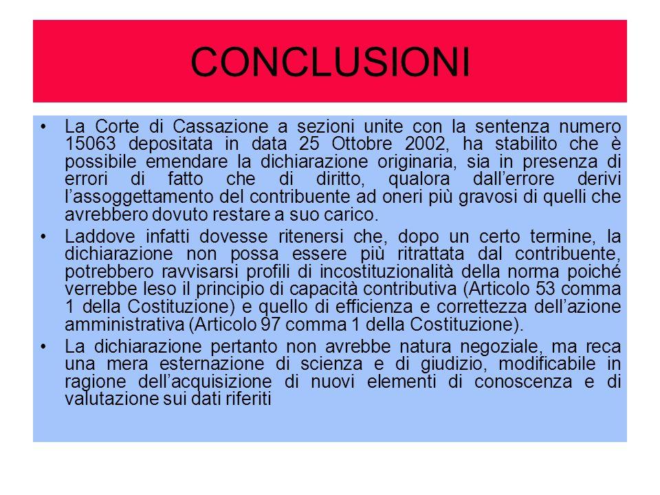 CONCLUSIONI La Corte di Cassazione a sezioni unite con la sentenza numero 15063 depositata in data 25 Ottobre 2002, ha stabilito che è possibile emend