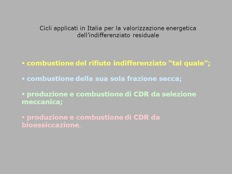 """Cicli applicati in Italia per la valorizzazione energetica dell'indifferenziato residuale  combustione del rifiuto indifferenziato """"tal quale"""";  com"""