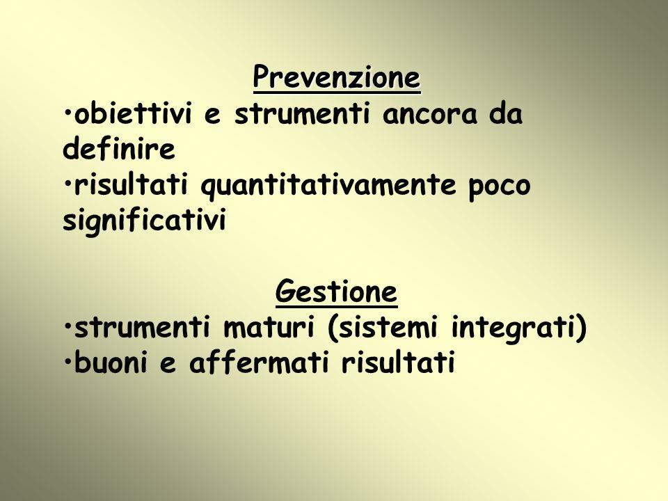 Prevenzione obiettivi e strumenti ancora da definire risultati quantitativamente poco significativi Gestione strumenti maturi (sistemi integrati) buon