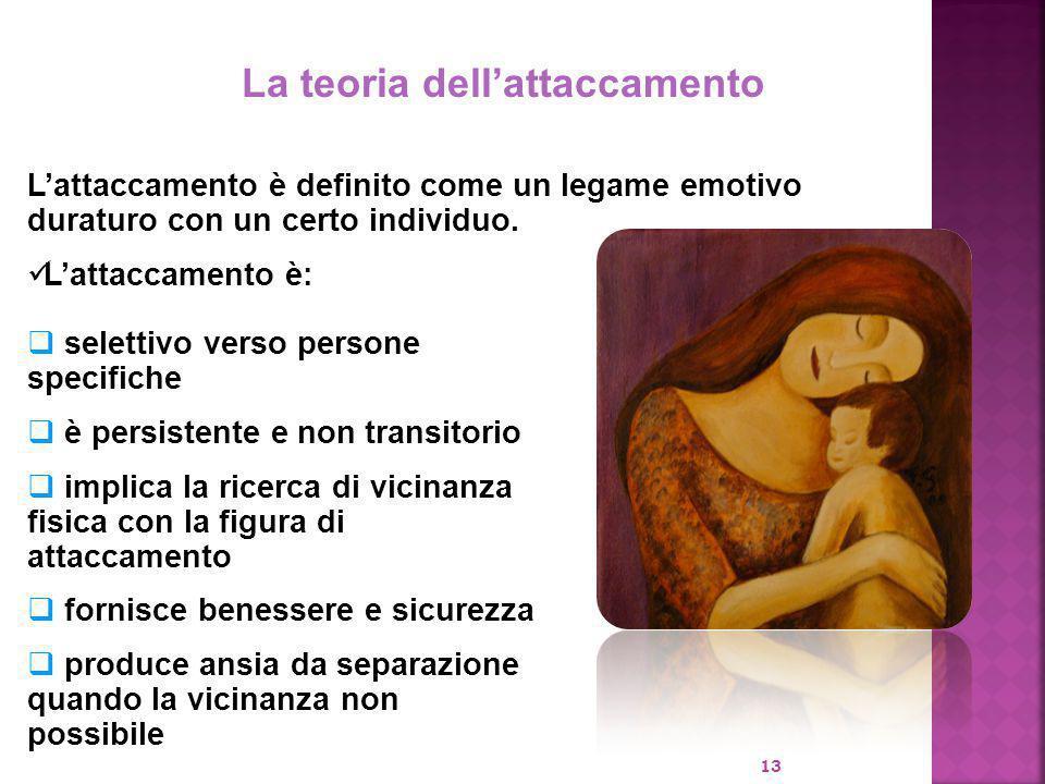 13 La teoria dell'attaccamento L'attaccamento è definito come un legame emotivo duraturo con un certo individuo. L'attaccamento è:  selettivo verso p