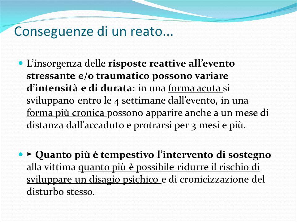 Conseguenze di un reato... L'insorgenza delle risposte reattive all'evento stressante e/o traumatico possono variare d'intensità e di durata: in una f