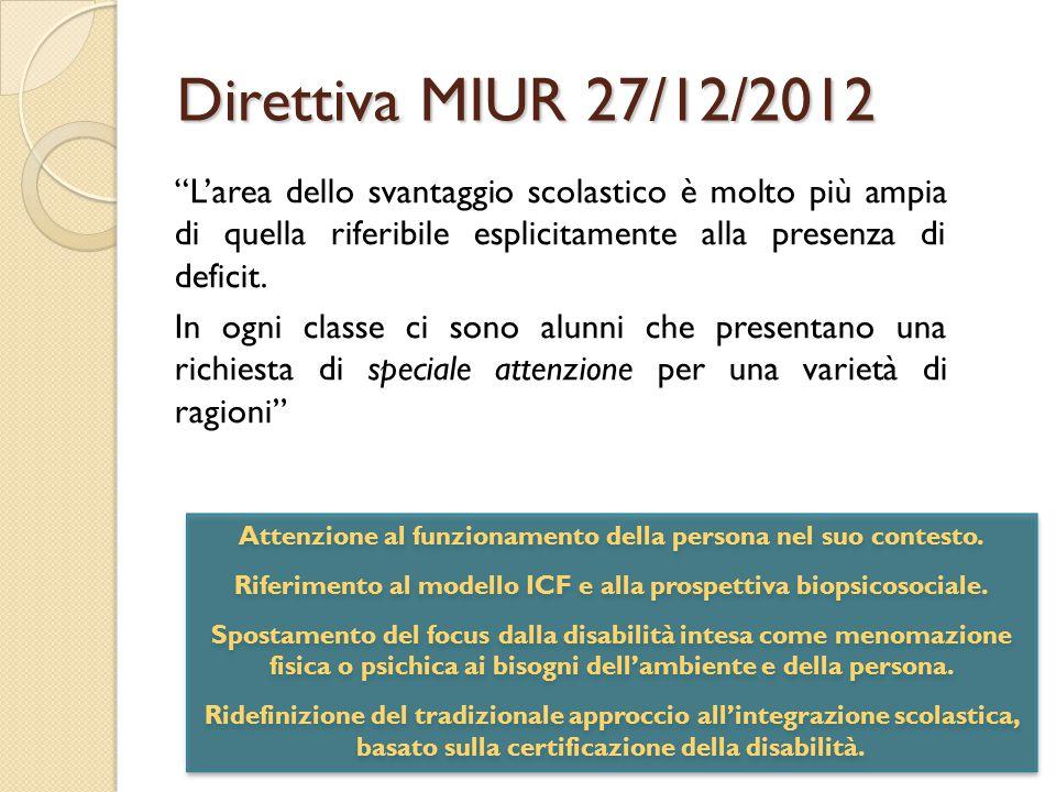 Direttiva MIUR 27/12/2012 Attenzione al funzionamento della persona nel suo contesto.