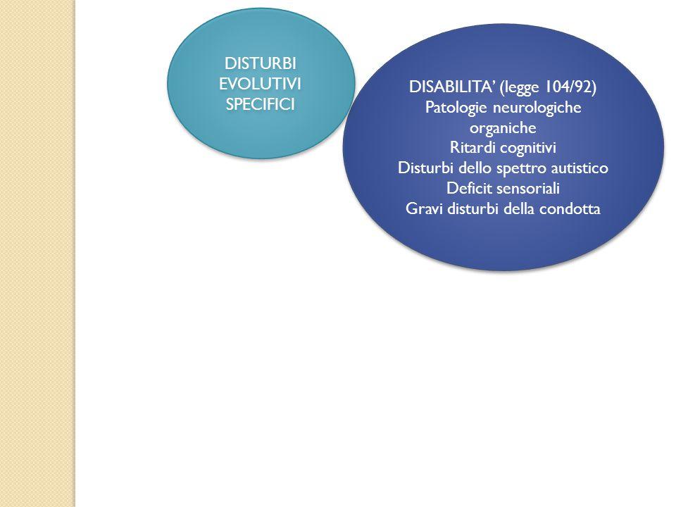 DISABILITA' (legge 104/92) Patologie neurologiche organiche Ritardi cognitivi Disturbi dello spettro autistico Deficit sensoriali Gravi disturbi della condotta DISABILITA' (legge 104/92) Patologie neurologiche organiche Ritardi cognitivi Disturbi dello spettro autistico Deficit sensoriali Gravi disturbi della condotta DISTURBI EVOLUTIVI SPECIFICI