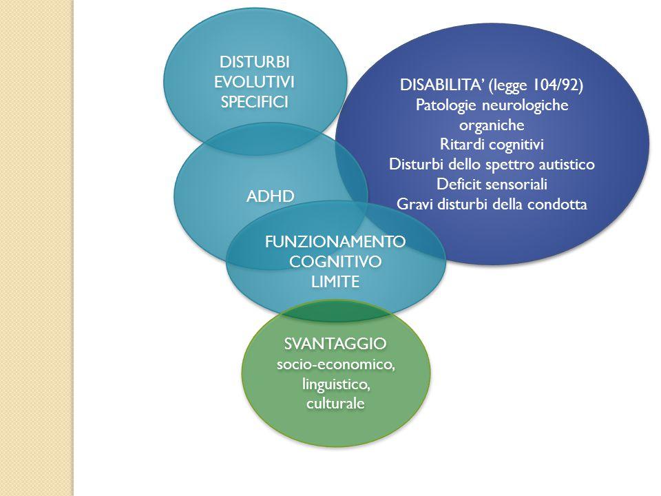 DISABILITA' (legge 104/92) Patologie neurologiche organiche Ritardi cognitivi Disturbi dello spettro autistico Deficit sensoriali Gravi disturbi della condotta DISABILITA' (legge 104/92) Patologie neurologiche organiche Ritardi cognitivi Disturbi dello spettro autistico Deficit sensoriali Gravi disturbi della condotta DISTURBI EVOLUTIVI SPECIFICI ADHD FUNZIONAMENTO COGNITIVO LIMITE SVANTAGGIO socio-economico, linguistico, culturale SVANTAGGIO socio-economico, linguistico, culturale
