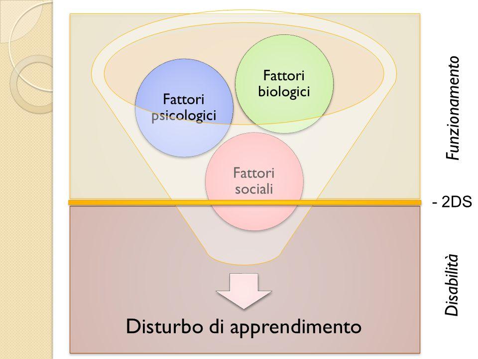 Disturbo di apprendimento Fattori sociali Fattori psicologici Fattori biologici - 2DS Funzionamento Disabilità