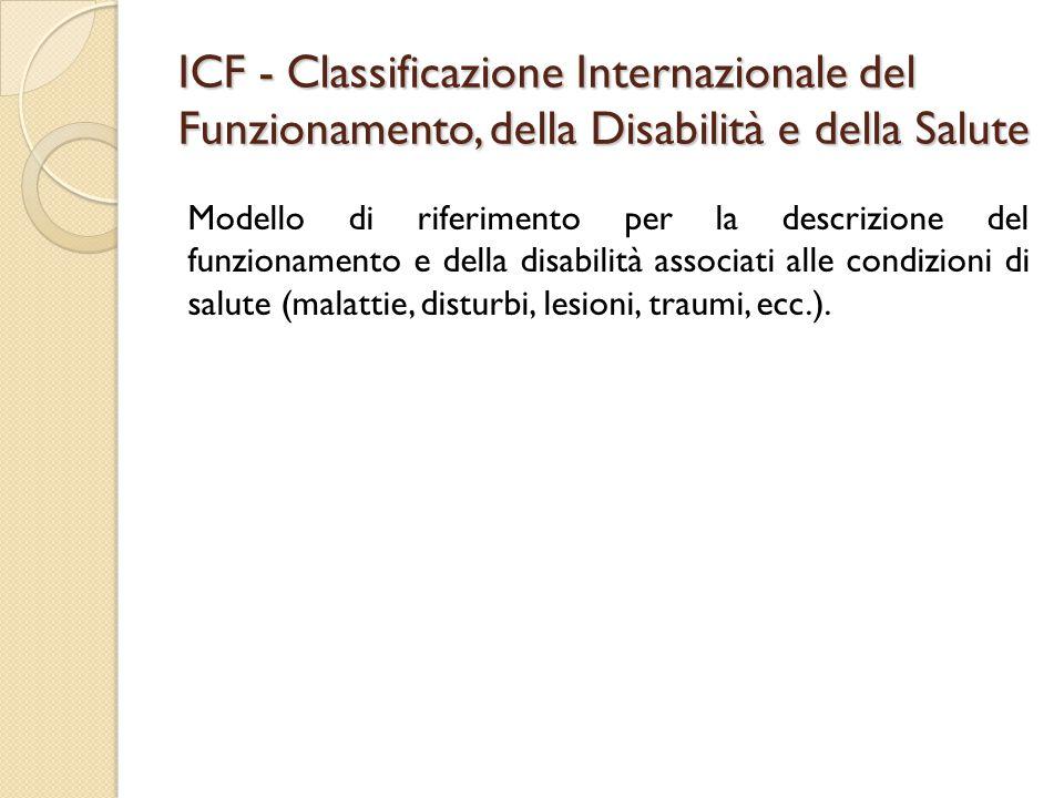 ICF - Classificazione Internazionale del Funzionamento, della Disabilità e della Salute Modello di riferimento per la descrizione del funzionamento e della disabilità associati alle condizioni di salute (malattie, disturbi, lesioni, traumi, ecc.).