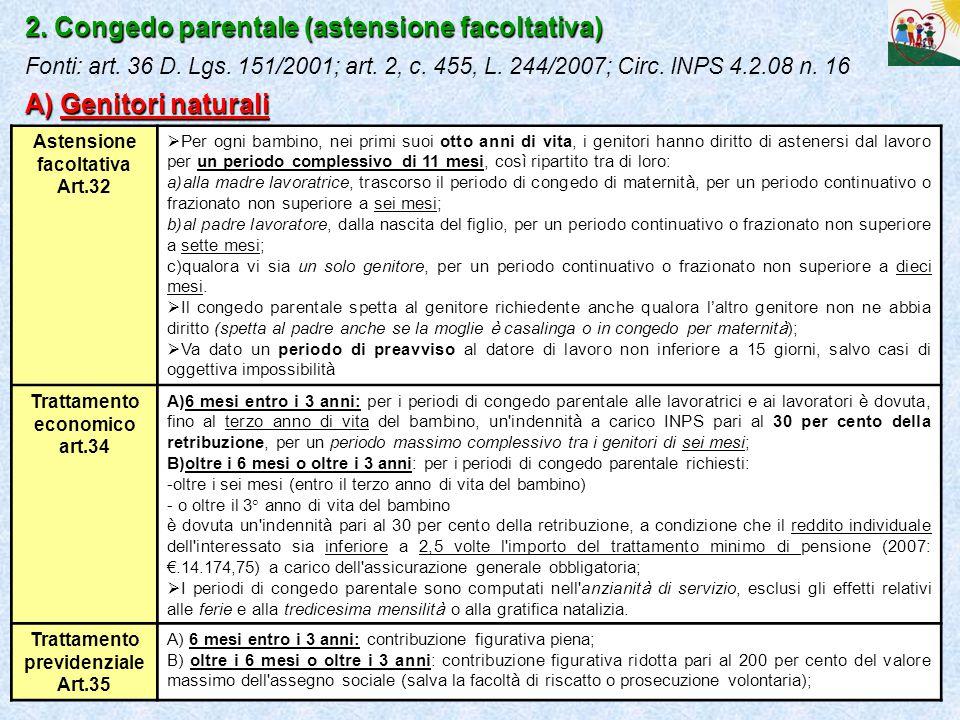 17 2. Congedo parentale (astensione facoltativa) A) Genitori naturali 2. Congedo parentale (astensione facoltativa) Fonti: art. 36 D. Lgs. 151/2001; a