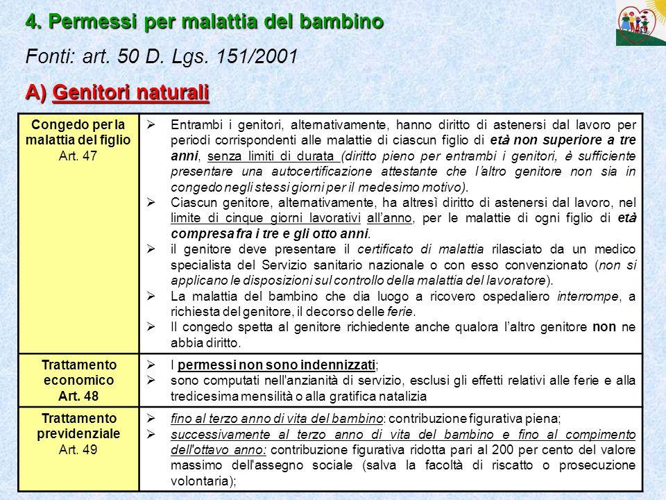 24 4. Permessi per malattia del bambino A) Genitori naturali 4. Permessi per malattia del bambino Fonti: art. 50 D. Lgs. 151/2001 A) Genitori naturali
