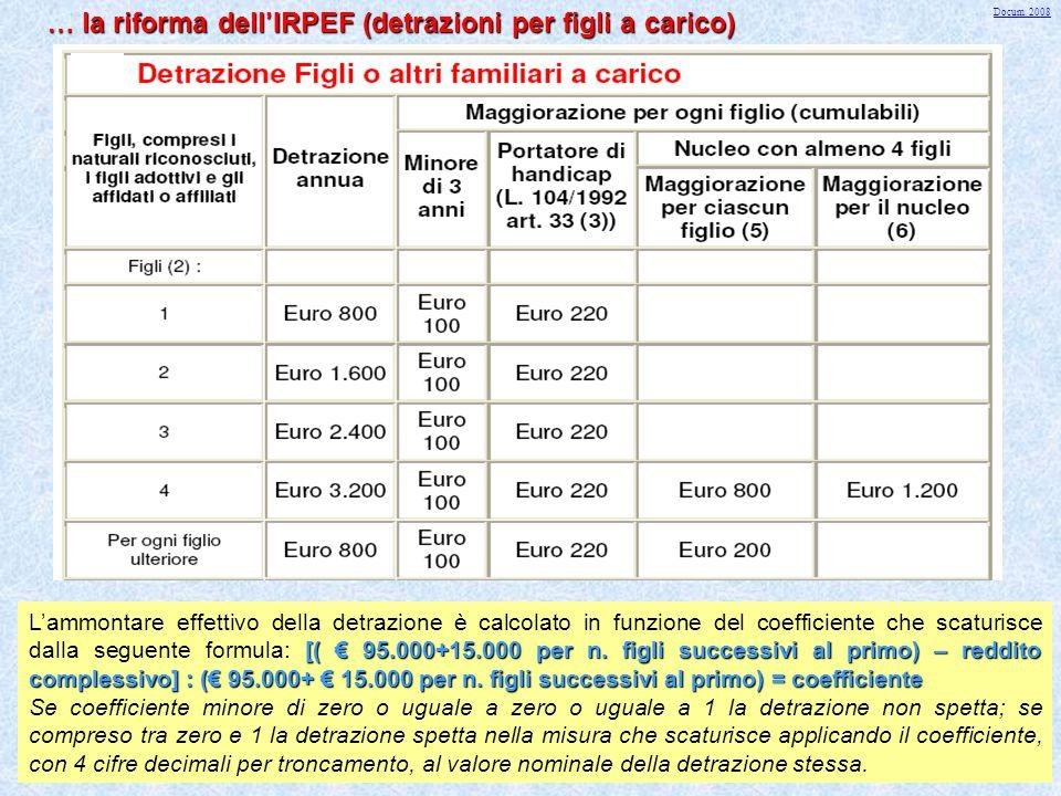34 … la riforma dell ' IRPEF (detrazioni per figli a carico) TABELLA GENERALE FIGLI A CARICO [( € 95.000+15.000 per n. figli successivi al primo) – re