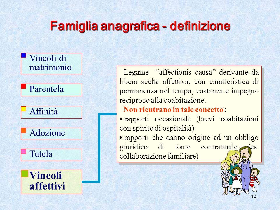"""42 Famiglia anagrafica - definizione Legame """"affectionis causa"""" derivante da libera scelta affettiva, con caratteristica di permanenza nel tempo, cost"""