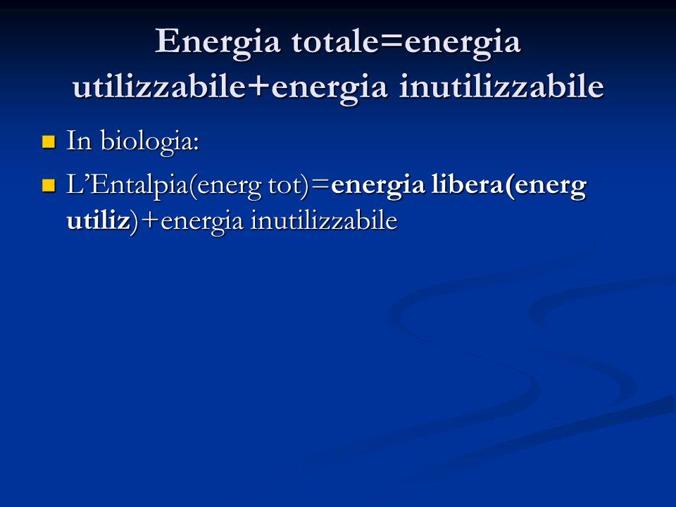 Energia totale=energia utilizzabile+energia inutilizzabile In biologia: In biologia: L'Entalpia(energ tot)=energia libera(energ utiliz)+energia inutil